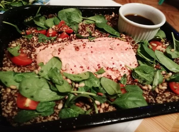 Salmon with Quinoa and Sweet Lemon Dressing (Gluten-Free Recipe)